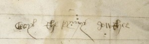 Signature of Cecily on Royal 14 E III, f. 1