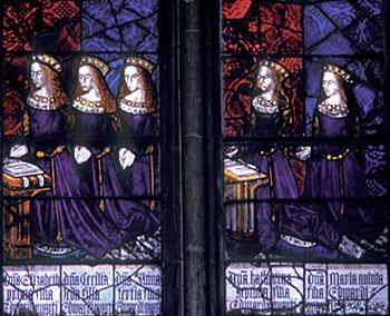 Stained glass at Canterbury Cathedral depicting Cecily and her sisters.