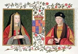 Double-Portrait-Of-Elizabeth-Of-York-And-Henry-VII-Holding-The-White-Rose-Of-York-And-The-Red-Rose-Of-Lancaster-From-Memoirs-Of-The-Court-Of-Queen-Elizabeth