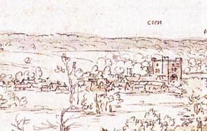 Sketch of Sheen Priory by Anton van den Wyngaerde, minus the bloody axe.