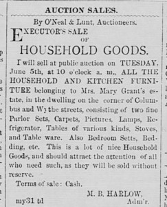 Mary Grant household goods